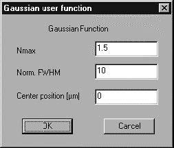 Optical Grating - Gaussian user function dialog box
