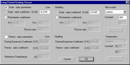 Optical Grating - Long Period Grating Sensor dialog box