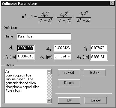 Optical Grating - Sellmeier Parameters dialog box