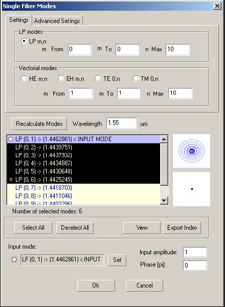 Optical Grating - Single Fiber Modes dialog box