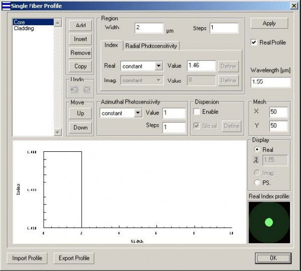 Optical Grating - Single Fiber Profile
