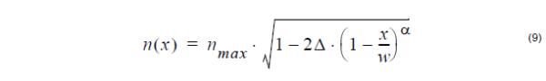 Optical Fiber - Alpha –dip profile equation