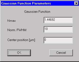Optical Fiber - Gaussian Function Parameters dialog box