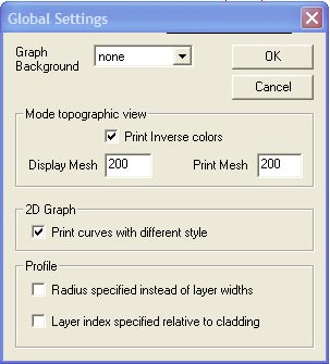 Optical Fiber - Global Settings dialog box