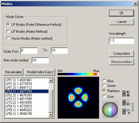 Optical Fiber - Modes dialog box