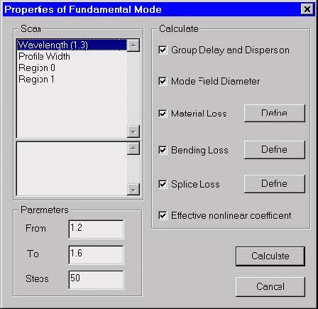 Optical Fiber - Properties of Fundamental Mode dialog box