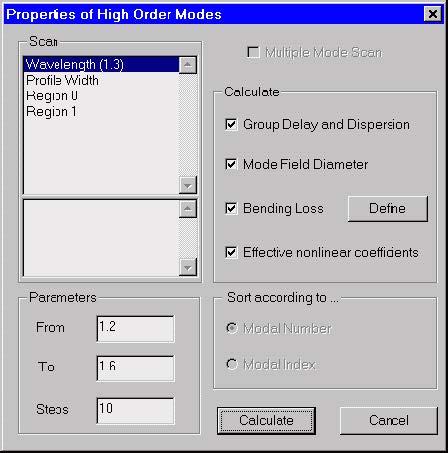 Optical Fiber - Properties of Higher Order Modes dialog box